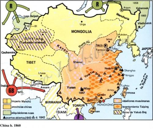 mapa luego de la guerra del opio