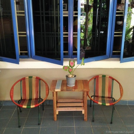 Little nostalgic rattan seats and wooden tables