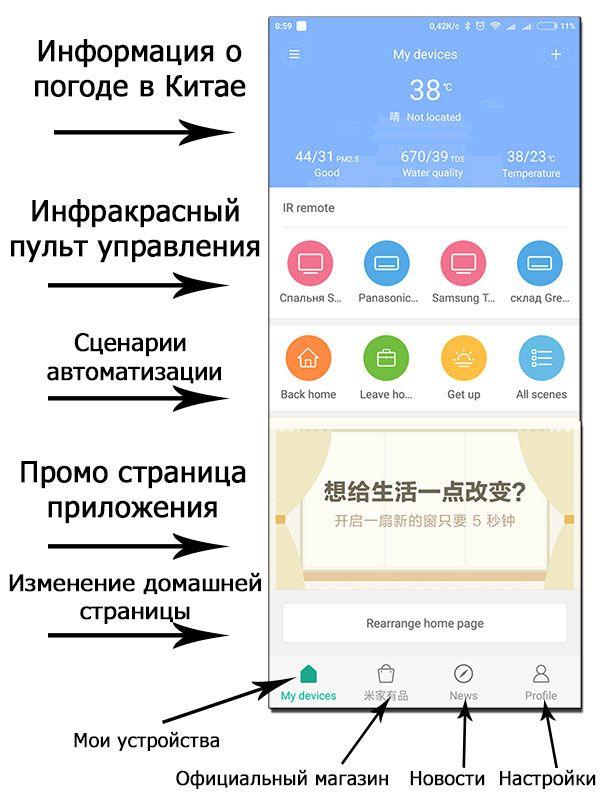 MiHome настройка приложения