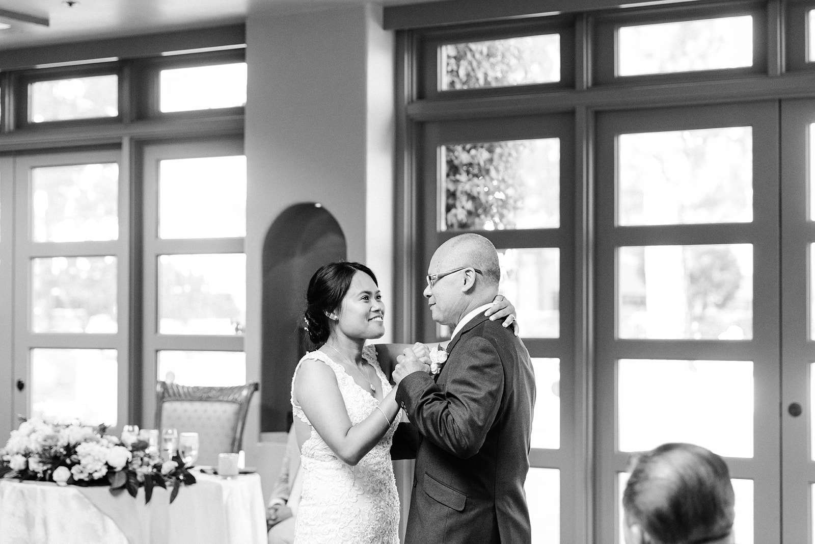 The father-daughter dance during a wedding in Costa Mesa.