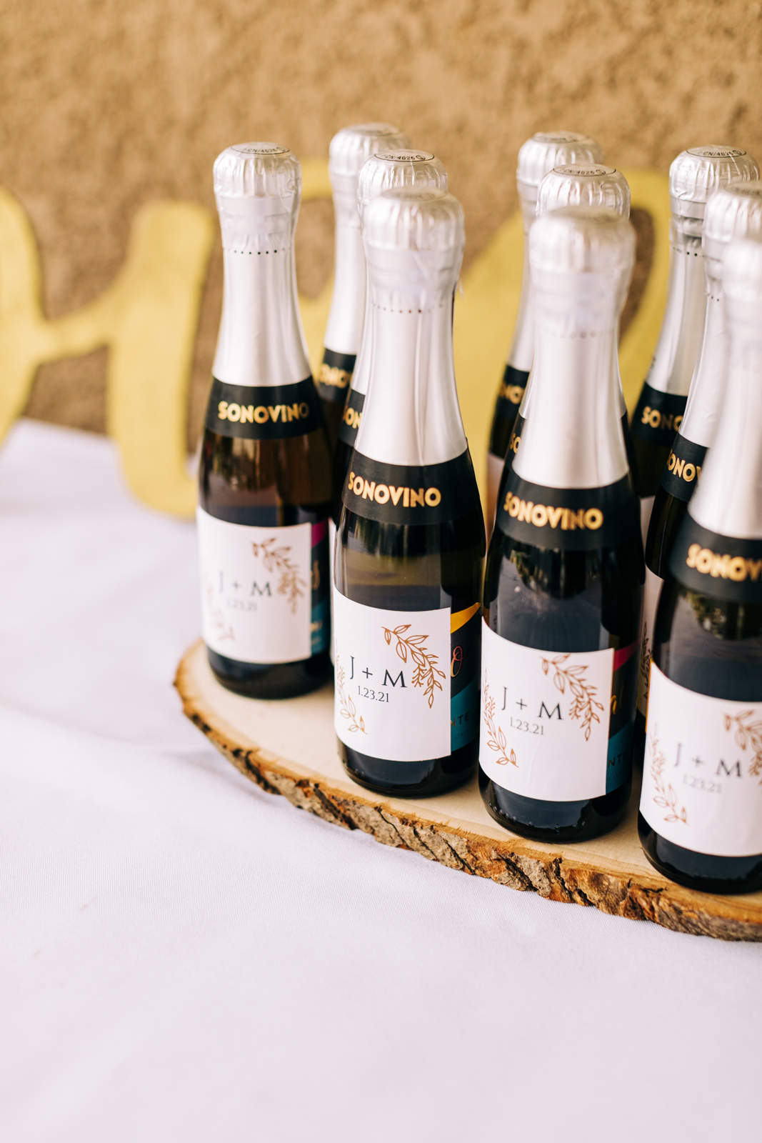 Mini bottles of champagne for a micro-wedding in Southern California.