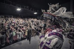 "José Luis ""Katira"" Ramirez invokes the sacred five directions of the Huichol people in a benediction before the showing in Guadalajara (Credit: José Andrés Solórzano)"