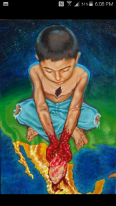"By Gerardo Quetzatl Garcia. This painting is titled ""In alma dividida"". It's acrylic on wood. It's a glimpse at the pain & sorrow endured by children who are displaced by the loss of their parents/family due to deportation."