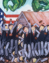 """By Jose Esquivel. Artist Statement: """"It's my main objective as an artist and communicator to express my point of view and articulate visually our cultural realities and social concerns. My paintings are barrio scenes that are reminders or memories of familiar places. The symbolism depicts some of our cultural beliefs and also the condition and struggles of a people steeped in the culture of poverty"""". joseesquivel.com"""