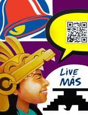 """By Ricardo NACO Gonzalez. This painting is titled """"Live Mas"""". It presents the concern of Chicanx culture transforming as less students are researching the culture in Higher education. The QR Code is fully functional and reinforces the meaning of this artwork."""