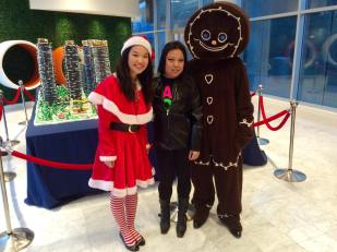 santas helper Michelle and gingerbread mascot