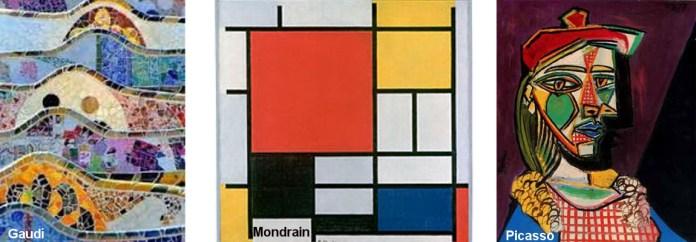 Artistas-Gaudi-Mondrian-Picasso