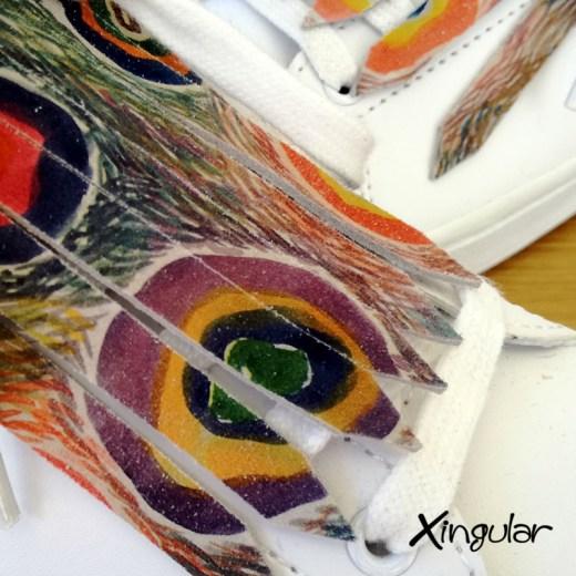 flecos zapatillas circulos abstractos detalle