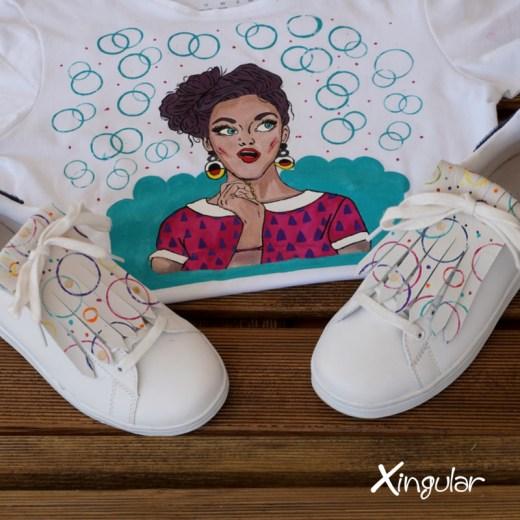 flecos zapatillas circulos pintados creatividad