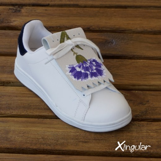 flecos zapatillas claveles violeta