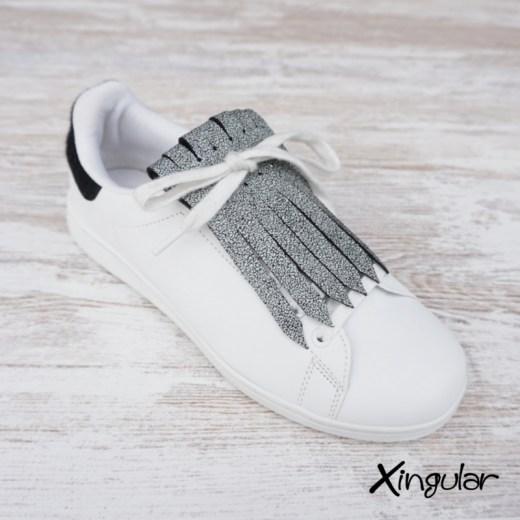 flecos zapatillas cuarteado blanco y negro