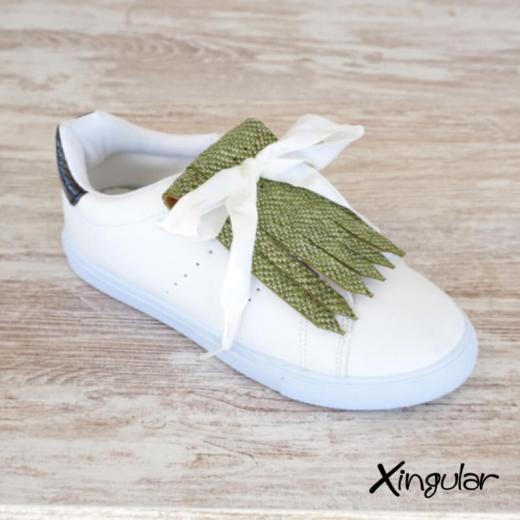 flecos zapatillas escamas pistacho metalizadas