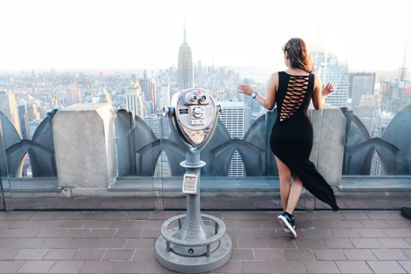 girl at top of the rock