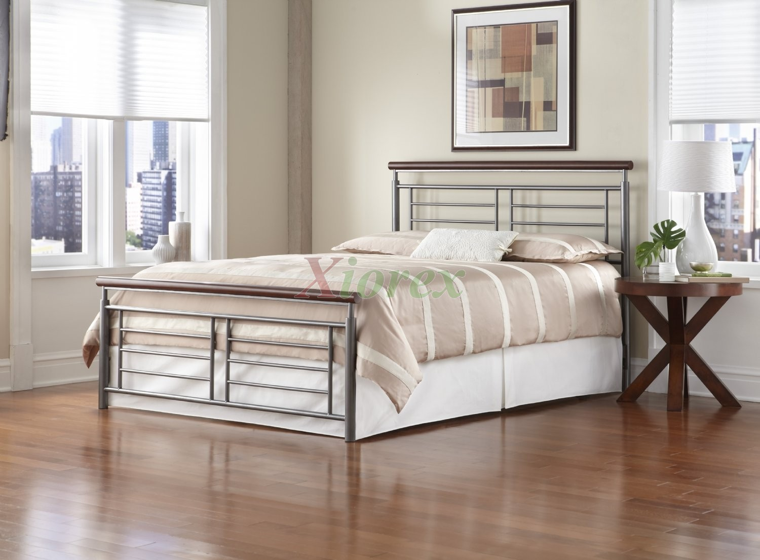 Fontane Bed W Cherry Metal/Silver Finish By Fashion Bed