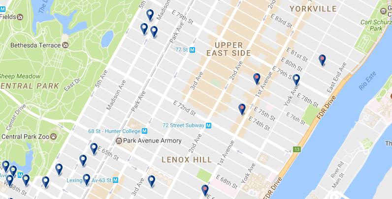 Nueva York - Upper East Side - Haz clic para ver todos los hoteles en un mapa