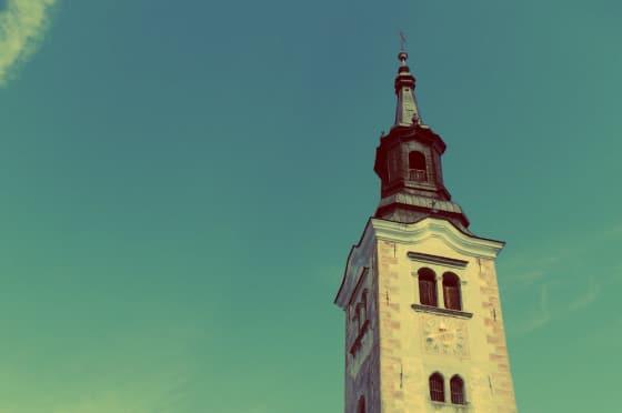 Campanario de la Iglesia  de la isla de Bled