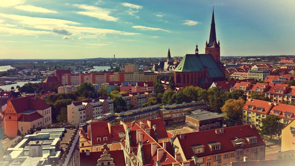 Vista de Szczecin desde el campanario del Palacio de lo Duques