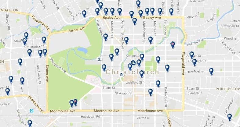 Centro de Christchurch - Haz clic para ver todos los alojamientos