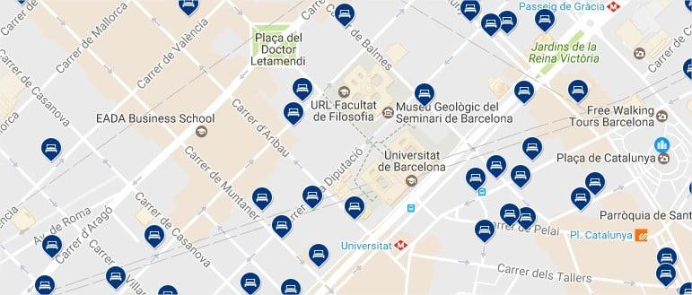 Dónde dormir en el Gaixample de Barcelona - Haz clic para ver todos los hoteles en un mapa