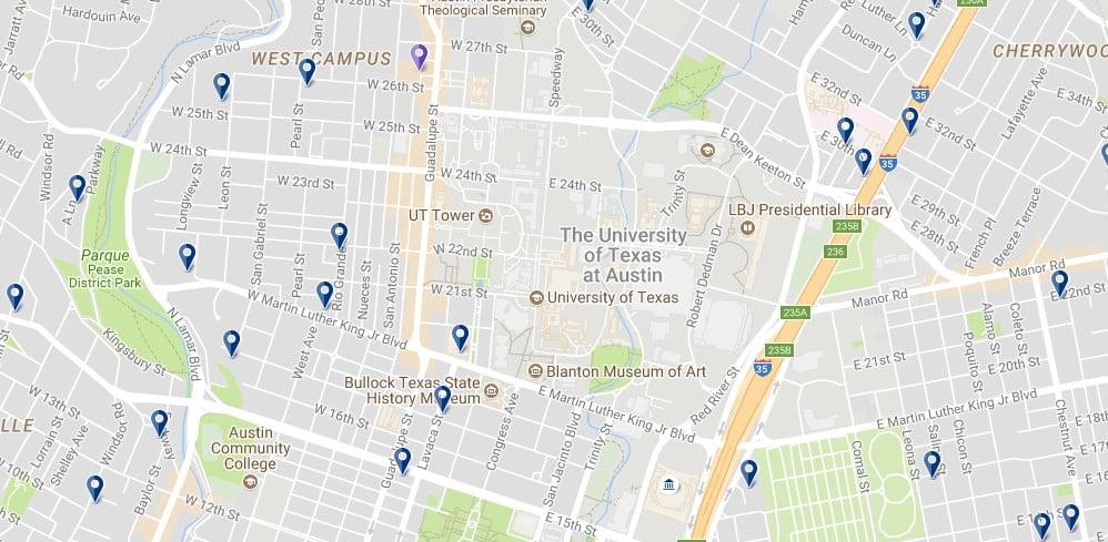 University of Texas at Austin - Haz clic para ver todos los alojamientos en un mapa