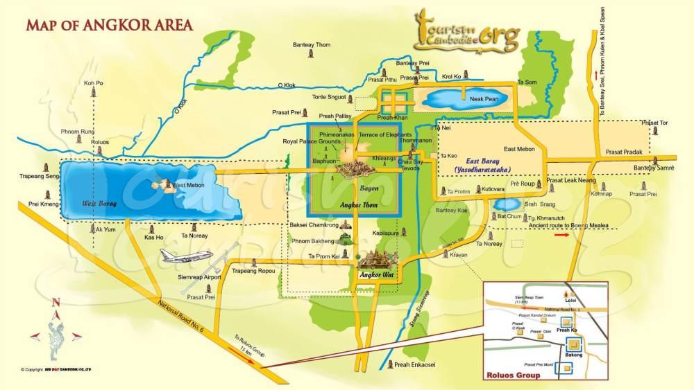 Mapa de Angkor Wat y el complejo arqueológico de Angkor - Haz clic para ampliar