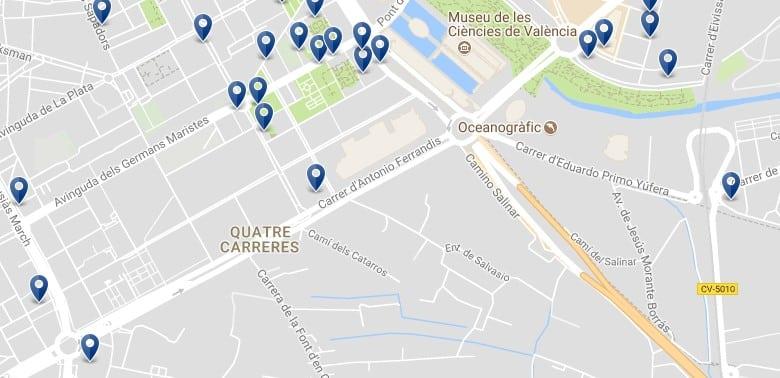 Valencia - Quatre Carreres (Città delle Arti e delle Scienze) - Clicca qui per vedere tutti gli hotel su una mappa