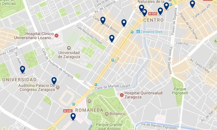 Zaragoza - Romareda - Haz clic para ver todos los hoteles en un mapa
