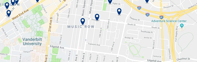 Nashville - Music Row - Haz clic para ver todos los hoteles en un mapa