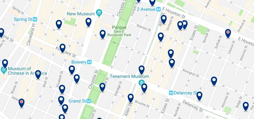 Nueva York - Lower East Side & East Village - Haz clic para ver todos los hoteles en un mapa