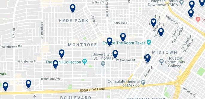 Houston - Midtown - Haz clic para ver todos los hoteles en un mapa