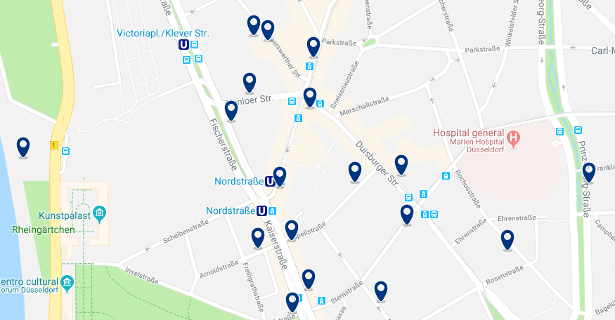 Düsseldorf – Pempelfort – Haz clic para ver todos los hoteles en un mapa