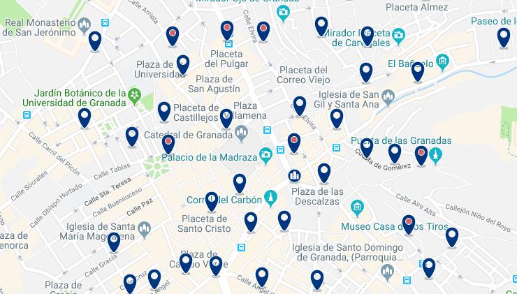 Granada – El Centro – Haz clic para ver todos los hoteles en un mapa