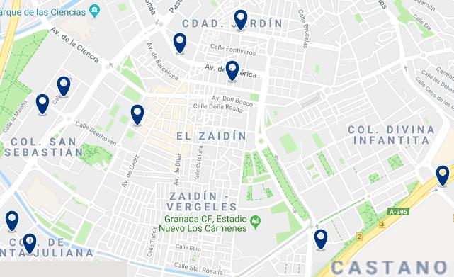 Granada – Zaidín – Haz clic para ver todos los hoteles en un mapa