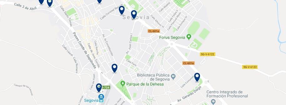 Segovia - Cerca de la estación - Clica sobre el mapa para ver todo el alojamiento en esta zona