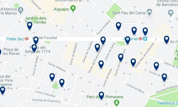 Dónde dormir en Barcelona para vida nocturna - Poble Sec - Haz clic aquí para ver todos los hoteles en un mapa