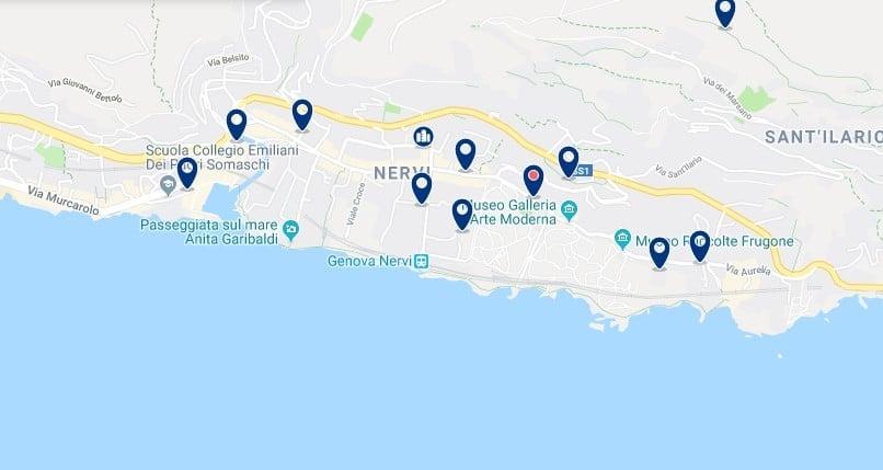 Génova - Nervi - Clica sobre el mapa para ver todo el alojamiento en esta zona