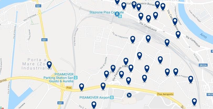 Pisa - Stazione Centrale & Aeropuerto - Clica sobre el mapa para ver todo el alojamiento en esta zona