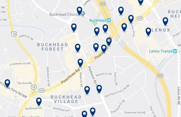 Atlanta - Buckhead - Haz clic para ver todos los hoteles en un mapa