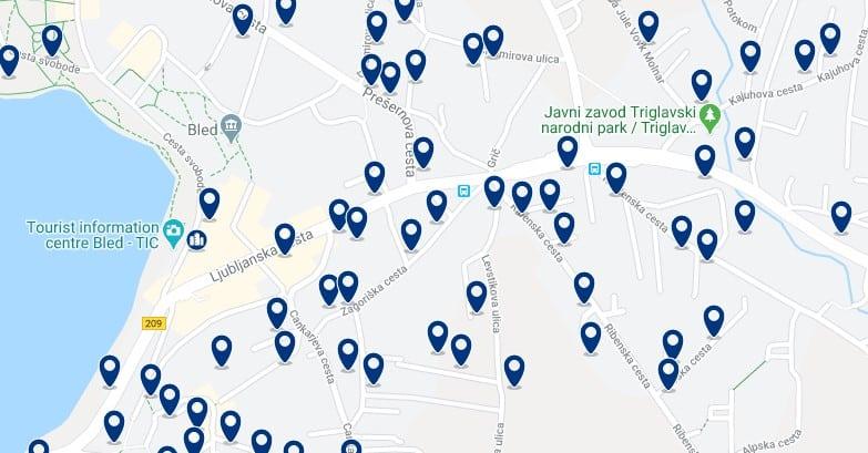 Bled - Centro del pueblo - Clica sobre el mapa para ver todo el alojamiento en esta zona