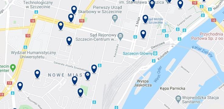 Szczecin - Estación central - Clica sobre el mapa para ver todo el alojamiento en esta zona