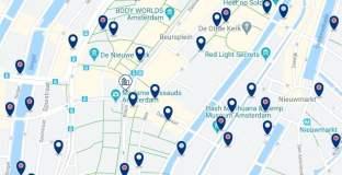 Dónde dormir en Ámsterdam para vida nocturna – Barrio Rojo – Haz clic aquí para ver todos los hoteles en un mapa