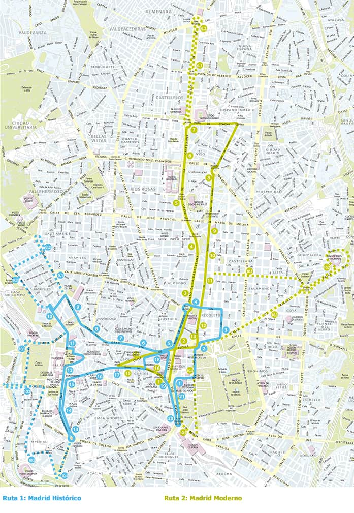 Mapa de las rutas del City Tour Madrid