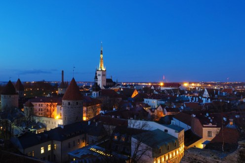 Tallinn Old Town at night