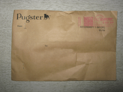 "It's an envelope that says ""Pugster"", but has no pugs inside."