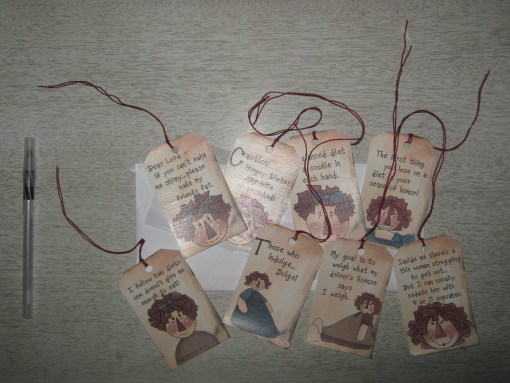 "Some ""inspirational"" diet tags, for putting on things, I guess? The quotes mean I'm being sarcastic."