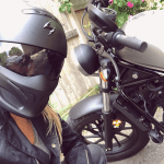 kristen gale with motorcycle