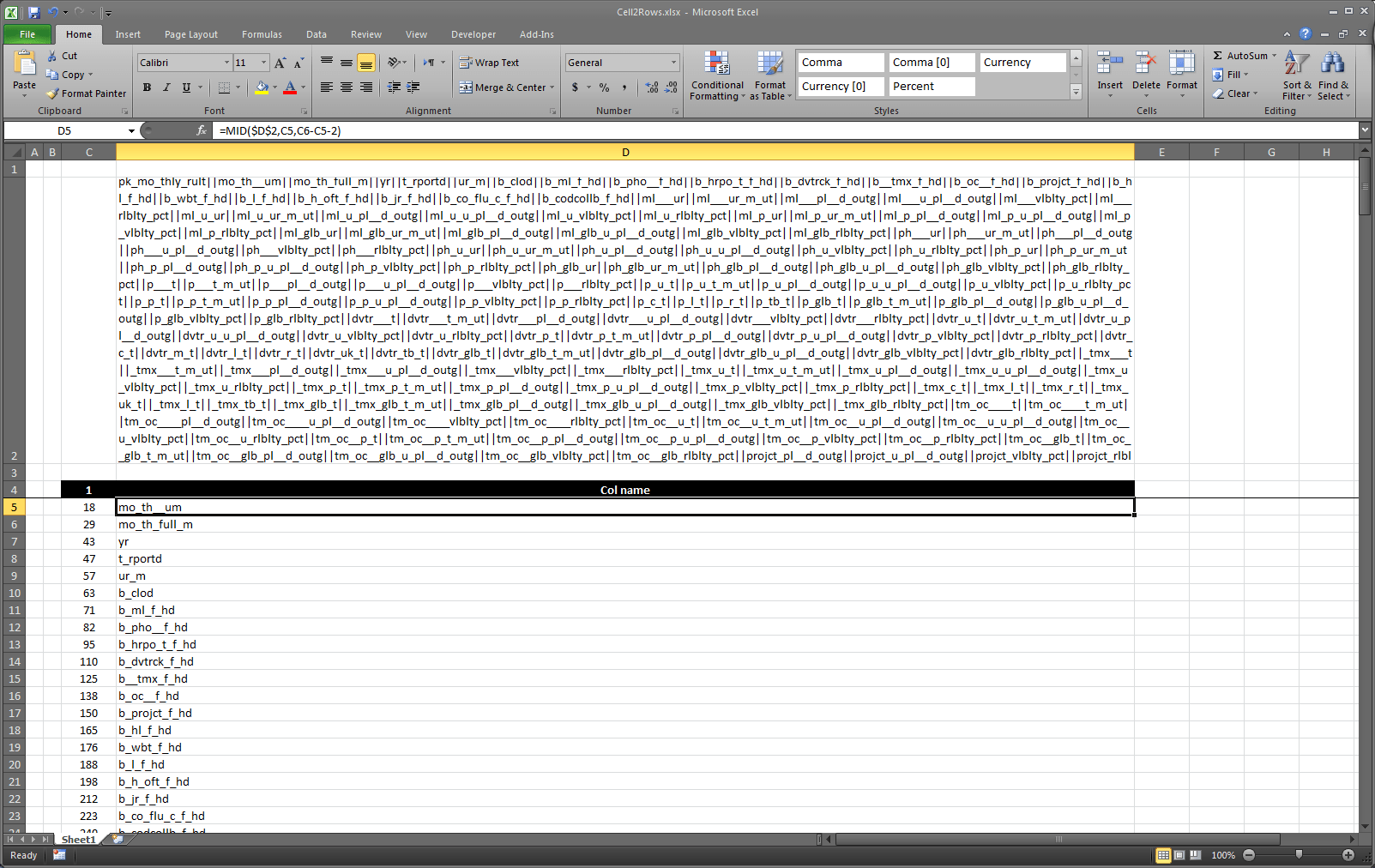 Dynamically Text to column