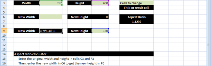 Standard math to calculate Aspect Ratio