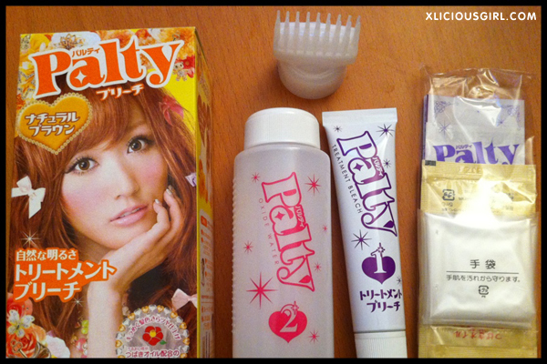 palty natural brown bleach hair dye box contents