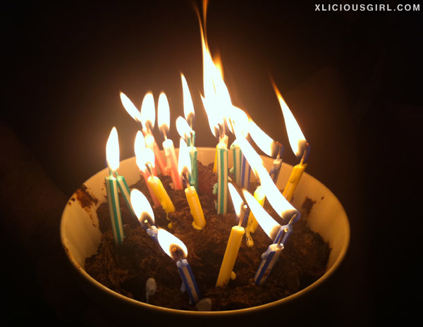 mud pie birthday cake with candles